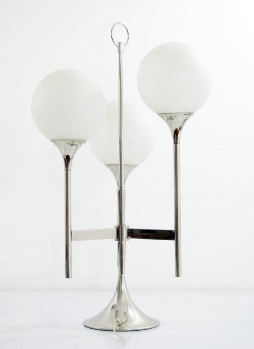 Reggiani/Sciolari style 1970s 3 armed chromed Trumpet lamp