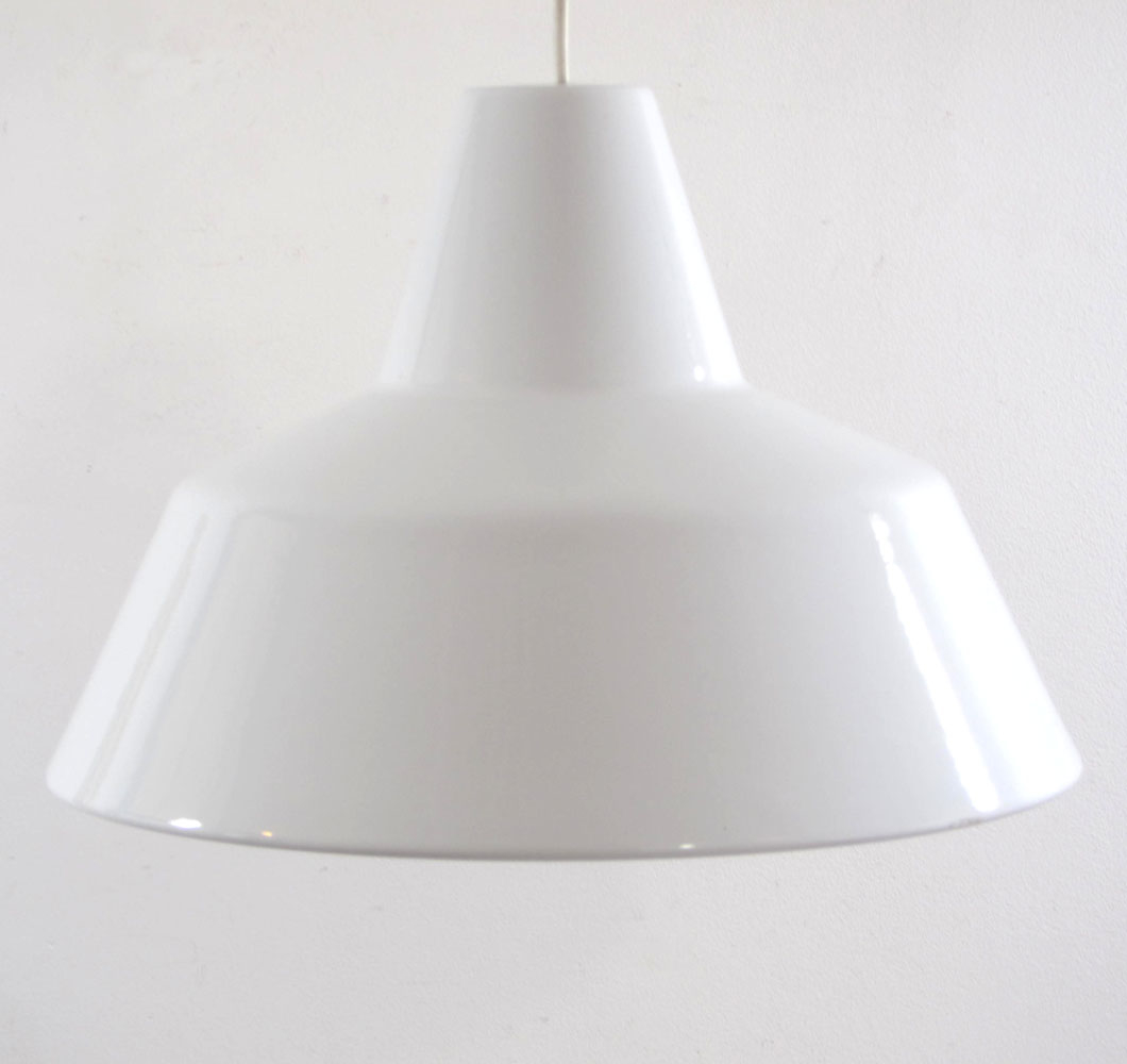 Arne Jacobsen light vintage white enamel hanging