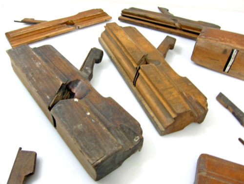 Set of 8 Antique Cabinet makers or framemakers wood planes for use or decoration. Some with makers marks.