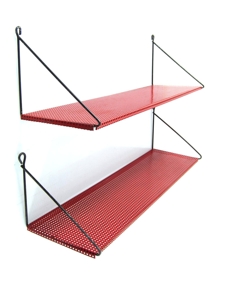 Pilastro 1950s perforated red shelves bom design furniture for Bom design furniture