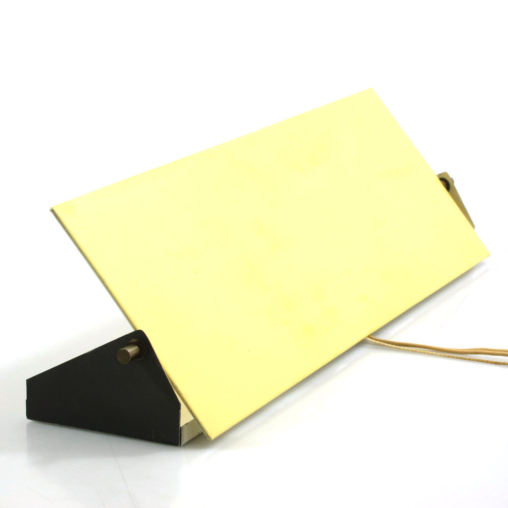 Large Anvia yellow metal wall lamp, Eames, Mathieu Mategot, Jacques Biny, Pilastro, Serge Mouille, Pierre Chareau, Periand, Aulenti style