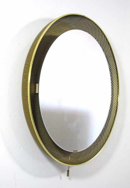 Gold Mathieu Mategot style fifties vintage mirror with light