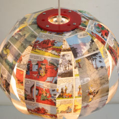 Lucky Luke comic book lamp recycled design