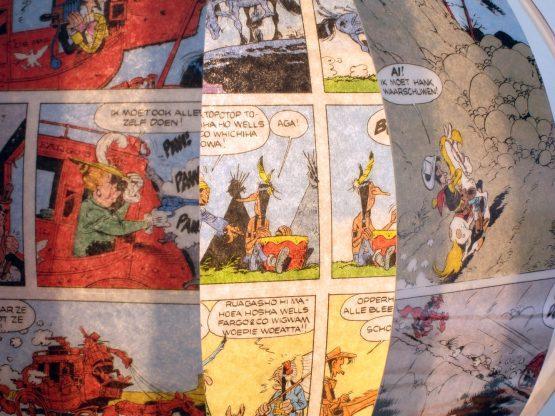 Lucky Luke comic book lamp recycled design