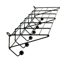Large black industrial coat rack model DH05 designed by Friso Kramer. Manufactured by 't Spectrum, Holland in 1956. Black enamelled metal wire frame with black painted wooden coat knobs.