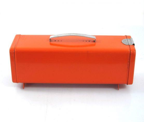 Orange sixties vintage metal bread bin