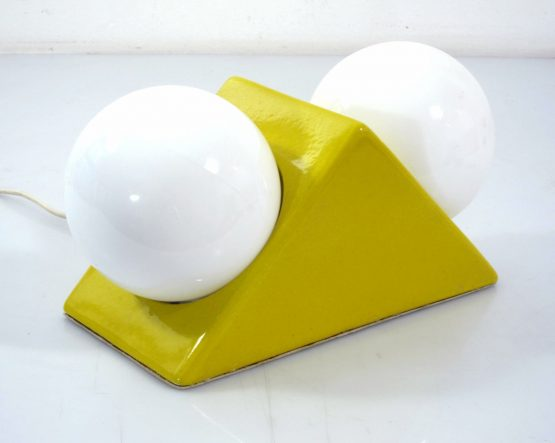 Seventies bright yellow vintage ceramic and glass wall or table