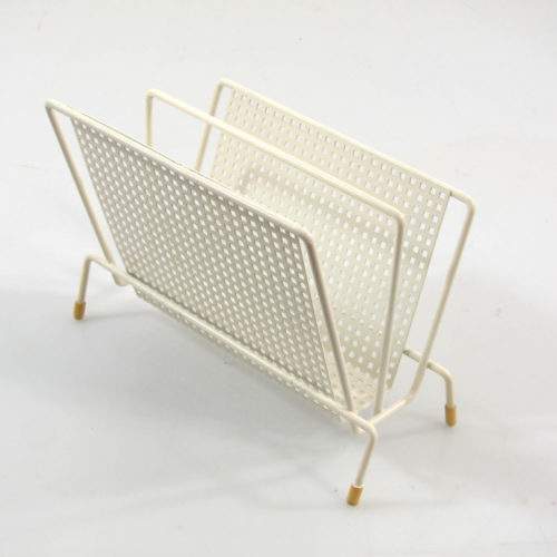 Mategot style vintage perforated metal envelop holder in white colour. In great condition. Mathieu Matégot was a Hungarian / French designer and material artist. He was one of the most renowned French designers of the 1950s Dimensions: height 15 cm, legth 21 cm, width 11,5 cm.