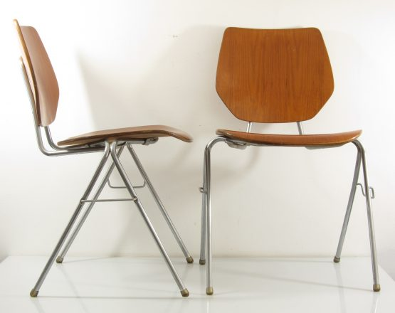Danish Stackable Plywood Chairs, 1960s, Arne Jacobsen