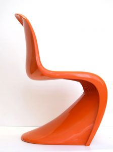 Verner Panton Orange vintage Side Chairs, Fehlbaum, 1970s, Set of 4