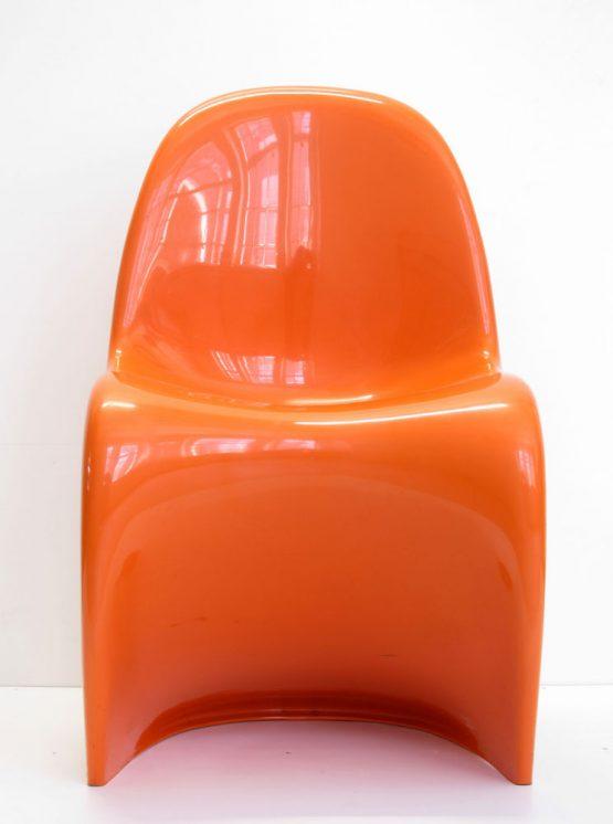 Verner Panton Orange vintage Side Chairs, Fehlbaum, 1970s, Set of 4