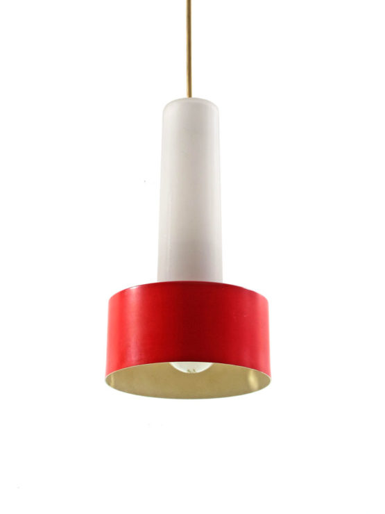 Philips Louis Kalff Mid century red & white hanging lamp, Louis Weisdorf, Eames, Danish, Carl Thore, Tynell, Fog Morup, Poulsen, Henningsen