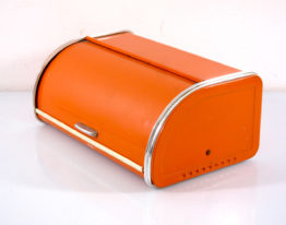 Sixties vintage stainless steel orange bread bin