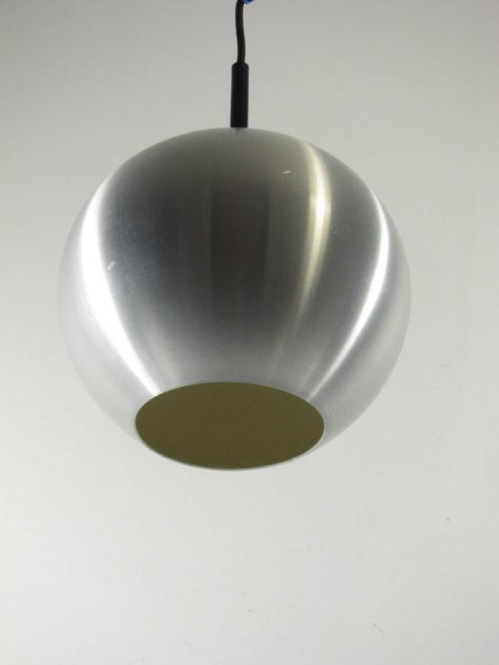 vintage aluminium ball lamp; raak, verner panton, lyfa