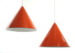 2 Orange vintage Danish billiard pendants - 1960s, eames, fifties, henningsen, aalto, tapiovaara, arne jacobsen, louis poulsen,scandinavian