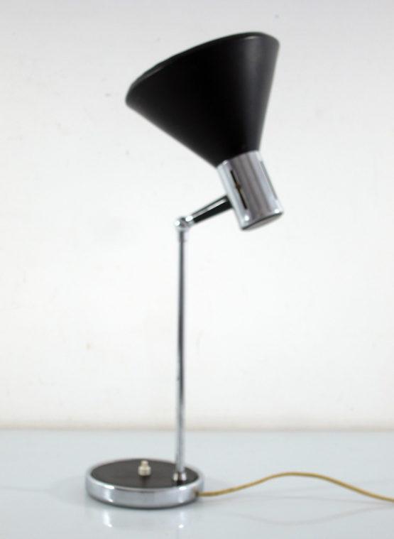 Italian sixties vintage chrome and black desk lamp