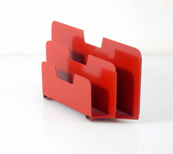 Sixties red metal Jean Prouve industrial style envelope holder