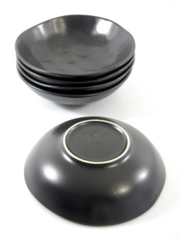 Sculptural sixties black ceramic bowls