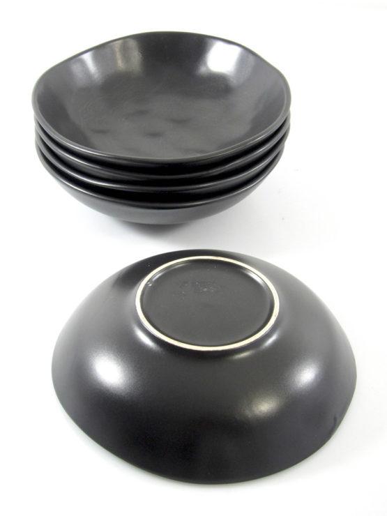 Sculptural sixties black ceramic bowls