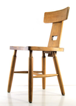 Vintage brutalist seventies Oak dining chairs, Charlotte Perriand, Eileeen Gray, Jean Prouve