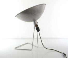 Large French aluminium table lamp
