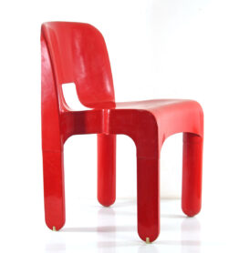 Joe Colombo 4867 Sixties Ferrrari Red plastic vintage chair for Kartell - eames, retro, eero aarnio, verner panton, artifort, pierre paulin