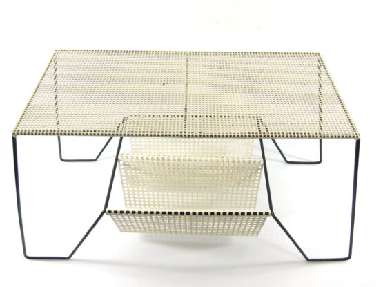Large Mathieu Mategot style white and black table with magazine rack -Eames, pilastro, jacques biny, serge mouille, pierre chareau, perriand